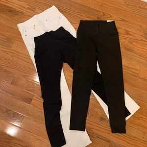 American Eagle Black Leggings & Artist Flare Jeans
